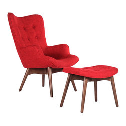 Stilnovo Midcentury Olsen Lounge Chair with Ottoman , Red - The Olsen lounge chair and matching ottoman have been inspired by mid-century designs. Solid wood frames support high-density foam and are upholstered with a bright red polyester-cotton blend fabric. Beech hardwood legs are finished in a medium walnut stain.
