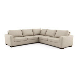 Rio L Sectional w/ Sofa Bed (Eco-Friendly) - Modern style eco-friendly sectional with a sofa bed that is made with 100% alder wood, all natural latex and eco wool, and comes in a large variety of natural or recycled fabrics. It's made in Los Angeles, and is natural from the inside out with no use of chemicals or fire retardants. The pullout mattress can be an air mattress, or a natural latex mattress. These sectionals can also be made to waterer size you need to the inch.