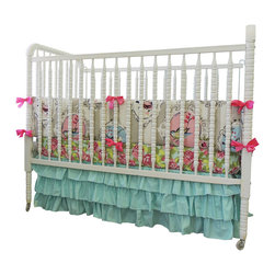 Tushies and Tantrums - Boutique Cribset in Aqua and Pink with Beautiful Bird and Rose Print - Wow! Check out this timeless beauty! We love the beautiful bird print that is accented by the perfectly matching boutique rose sheet and the oh so darling aqua skirt! This will bring out all the perfect accents in your little one's room!