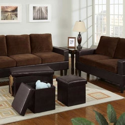 Modern Chocolate Fabric Leather Sofa Couch Loveseat Storage Ottomans - A timeless set of furnishings, this loveseat and sofa features a boxed faux leather frame and opulent microfiber seating for the ultra modern living room. Maximize the beauty of this set with a 3-piece faux leather ottoman set for a contemporary ambiance.