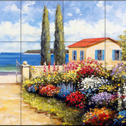 The Tile Mural Store (USA) - Tile Mural - Coastal Garden Walk - Kitchen Backsplash Ideas - This beautiful artwork by John Zaccheo has been digitally reproduced for tiles and depicts a colorful garden.  This garden tile mural would be perfect as part of your kitchen backsplash tile project or your tub and shower surround bathroom tile project. Garden images on tiles add a unique element to your tiling project and are a great kitchen backsplash idea. Use a garden scene tile mural for a wall tile project in any room in your home where you want to add interesting wall tile.