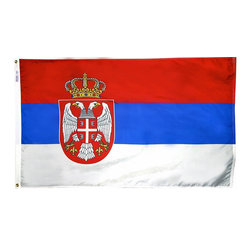 Flagline - Serbia - 3'X5' Nylon Flag - If you are a serious flag collector or if you plan on displaying your flag outdoors, you should consider our line of Nylon flags. Our Nylon flags are made of 100% Perma-Nyl Nylon, finished with canvas headings and brass grommets, primarily for outdoor use. Nylon flags are heavier than Polyester and stand up well to sun exposure. A Nylon flag provides a longer life of service and enjoyment.