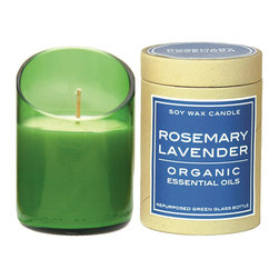 Rosemary Lavender Candle - A diagonally cut rosemary-lavender scented candle in a recycled glass holder.