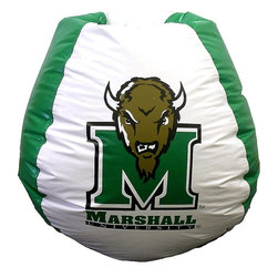 """Bean Bag Boys - Marshall Thundering Herd Bean Bag - As magnificent as a thundering herd of Buffalo, the aptly named Thundering Herd athletic teams of Marshall University offer an attractive logo in kelly green and white with an awe-inspiring buffalo's head atop the """"M"""", with eyes that stare straight at you. * Durable vinyl constructionBean bag features logo for Marshall Thundering Herd 30"""" X 30"""" 36"""". 112"""" Circumference10 lbs."""