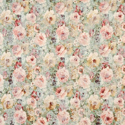 Green, Peach And Blue, Floral Garden Woven Upholstery Fabric By The Yard - Botanical upholstery fabrics with the look of this one, add a unique appearance to any furniture. This material's colors look pastel, and blend perfectly together.