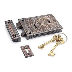 Restorers Brass Ornate Rim Lock - If you've ever needed a rim lock in an odd size you know how difficult it can be to find. Van Dyke's has taken original examples of these hard to find locks and had them authentically recreated to our exacting standards.