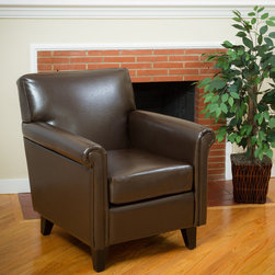 Christopher Knight Home - Christopher Knight Home Leeds Classic Brown Bonded Leather Club Chair - Supple and elegant,this Leeds club chair is upholstered in soft bonded leather. This overstuffed arm chair features an espresso finish on the legs.