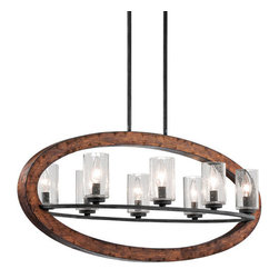 Kichler - Grand Bank Eight-Light Auburn Stained Finish Island Pendant - - Grand Bank Eight-Light Auburn Stained Finish Island Pendant.   - Clear Seedy Glass.   - Bulbs Not Included.   - Body Made of Steel.   - Chain Length: 36.   - Extra Lead: 79. Kichler - 43191AUB