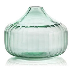 Erin Vase - Hand-cut facets embrace the rounded contours of this charming vase, enhancing its gorgeous aqua color with reflected shades and intriguing texture.