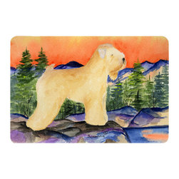 Caroline's Treasures - Wheaten Terrier Soft Coated Kitchen or Bath Mat 20 x 30 - Kitchen or Bath Comfort Floor Mat This mat is 20 inch by 30 inch. Comfort Mat / Carpet / Rug that is Made and Printed in the USA. A foam cushion is attached to the bottom of the mat for comfort when standing. The mat has been permanently dyed for moderate traffic. Durable and fade resistant. The back of the mat is rubber backed to keep the mat from slipping on a smooth floor. Use pressure and water from garden hose or power washer to clean the mat. Vacuuming only with the hard wood floor setting, as to not pull up the knap of the felt. Avoid soap or cleaner that produces suds when cleaning. It will be difficult to get the suds out of the mat.