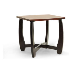 """Wholesale Interiors - Straitwoode Cherry and Dark Brown Modern End Table - Subtle curves and smooth surfaces make the Straitwoode End Table shine. Made in Malaysia with a solid rubber wood core, the designer side table features a cherry wood veneer tabletop with a dark brown wood veneer base. Non-marking feet help prevent damage to sensitive hard flooring and provide stabilization. The Straitwoode End Table requires assembly and should be wiped clean with a dry cloth as necessary. Complete the set with the matching Straitwoode Coffee Table and Sofa Table (each sold separately). Product dimension: 23.75""""W x 23.75""""D x 22.87""""H."""