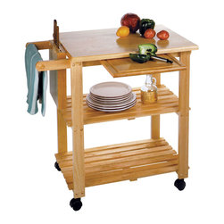 Winsome - Kitchen Cart with Cutting Board - Featuring a knife block, a cutting board, and two lower storage shelves.. A convenient accessory in the kitchen, on the patio, or anywhere else.