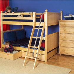 Maxtrix - Fat Full over Full Bunk Bed - MXTX140 - Shop for Bunk Beds from Hayneedle.com! Picture books footed pajamas a glass of warm milk - add the Fat Full over Full Bunk Bed and your child has a bedtime that never goes out of style. Crafted with durable solid birch this full-size bunk bed boasts traditional lines: slatted headboards and footboards and sturdy square posts. The included angled ladder has deep grooved steps and a smooth safety railing and the top bunk's 11-inch guard rail prevents nighttime falls. Keep the bunk stacked in small rooms or easily break it down into two roomy beds for multiple kids. Score additional sleep space by adding an optional under-bed trundle or amp up bedroom storage with optional storage drawers built with a self-closing design strong dovetail joinery and smooth ball-bearing glides. Choose the bunk only the bunk and trundle or the bunk and storage drawers in a variety of finish options. We take your family's safety seriously. That's why all of our bunk beds come with a bunkie board slat pack or metal grid support system. These provide complete mattress support and secure the mattress within the bunk bed frame. Please note: Bunk beds and loft beds are only to be used by children 6 years of age or older.