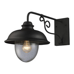 ELK - Elk Lighting 62001-1 Streetside Cafe Outdoor Wall Light - Capture The Charm Of An Outdoor Cafe Lantern. The Matte Black Ironwork And Heavy Seeded Blown Glass Achieves An Authentic Old World Style.