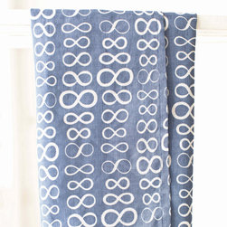 """Pine Cone Hill - PCH Infinity Denim Tea Towel Set of 3 - Casual yet chic, the Infinity tea towels from PCH function durably with style in mind. These modern kitchen linens boast an iconic figure-eight pattern in denim blue and white. 20""""W x 28""""H; Set of 3; 53% cotton/47% linen; Designed by Pine Cone Hill, an Annie Selke company; Machine wash"""