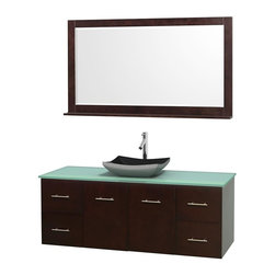 Wyndham Collection - 60 in. Single Bathroom Vanity in Espresso, Green Glass Countertop, Altair Black - Simplicity and elegance combine in the perfect lines of the Centra vanity by the Wyndham Collection . If cutting-edge contemporary design is your style then the Centra vanity is for you - modern, chic and built to last a lifetime. Available with green glass, pure white man-made stone, ivory marble or white carrera marble counters, with stunning vessel or undermount sink(s) and matching mirror(s). Featuring soft close door hinges, drawer glides, and meticulously finished with brushed chrome hardware. The attention to detail on this beautiful vanity is second to none.