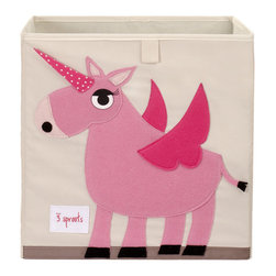"""3 Sprouts - 3 Sprouts Unicorn Storage Box - 3 Sprouts delivers playful personality to the home with practical, critter-themed products the whole family can enjoy. A cute cubby, the square Unicorn storage box offers ample space for holding a little one's toys and essentials. Constructed with reinforced cardboard sides, this purple-trimmed cream cotton canvas bin delights with a light pink and hot pink eco-spun felt unicorn applique. Spot clean. 13""""W x 13""""D x 13""""H."""