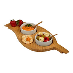 Picnic at Ascot - Two Bowl Leaf Serving Tray - Gracefull bamboo leaf serving tray with two olive motif serving bowls with small bamboo serving spoons. Attractive juice groove detail at edge.