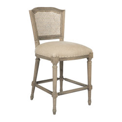 Kathy Kuo Home - Ethan French Country Washed Taupe Linen Counter Stool - In the language of classic French country decor, the cane back upholstered chair is one of the most eloquent and popular ways to achieve that essential balance between formal and relaxed style. Upholstered in a nubby taupe linen and gently distressed, this comfortable counter stool chair is lovely when placed at a counter table.