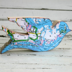Birds of the World Wooden Bird with North Carolina Beach Map by Silvery Moon Art - Flutter away in the memory of your favorite travel destination with a whimsical bird figurine.