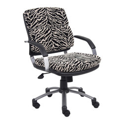 Boss Chairs - Boss Chairs Boss Zebra Microfiber Mid Back Padded Arm Chair - Great for small offices. Upholstered in Zebra microfiber with black Caressoft accents. Spring tilt mechanic. Pneumatic gas lift seat height adjustment. Adjustable tilt tension control. Pewter finished metal arms with padded arm rests. Hooded double wheel casters. Pewter finished powder coated metal base.