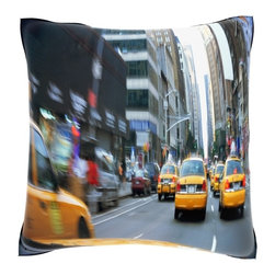 None - Taxis on the Street in New York City  18-inch Velour Throw Pillow - Add fresh perspective to your home decor with this lovely, Taxis on the Street in New York City 18-inch throw pillow. Crafted of 100-percent polyester velour, this decorative pillow offers a sublimation art print and knife edging.
