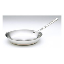 All-Clad - Copper Core Fry Pan - Sear, brown, and pan fry everything from eggs to meat with the All-Clad Copper Core Fry Pan. This pan's flat bottom and flared sides make it easy to toss food or turn it with a spatula. As with all cookware from All-Clad's Copper Core Collection, this pan features bonded five-ply construction with a copper core and stainless steel exterior and cooking surface for rapid, even heating. Features: -Convenient capacity marks on each piece.-Made in the USA.-Striking design includes exposed copper core detail.-Copper Core collection.-Collection: Copper-Core.-Distressed: No.-Powder Coated Finish: No.-Gloss Finish: No.-Material: Stainless Steel; Aluminum; Copper.-Base Material: Stainless Steel.-Hardware Material: Stainless Steel.-Product Type: Frying Pan.-Shape: Round.-Non Toxic: Yes.-Scratch Resistant: No.-Rust Resistant: No.-Warp Resistant: No.-Chip Resistant: No.-Tarnish Resistant: No.-Stain Resistant: No.-Peel Resistant: No.-Nonreactive: Yes.-Non-Stick Surface: No.-Construction: 5-Ply.-Oven Safe: Yes.-Microwave Safe: No.-Dishwasher Safe: Yes.-Preseasoned: No.-Stove Type Compatibility: Gas; Electric; Halogen; Induction; Glass.-Lids Included: No.-Handles: Yes -Number of Handles: 1.-Handle Material: Stainless steel.-Handle Finish: Stainless Steel.-Non-Slip Handle: No.-Heat Resistant Handles Detail: The handles become the same temperature as the oven, use with mit to handle...-Outdoor Use: No.-Pouring Rims: No.-Recommended Utensil Material: Wood; Silicon; Rubber; Plastic; Stainless Steel; Aluminum; Copper.-Hanging: Yes.-Commercial Use: Yes.-Recycled Content: No.-Eco-Friendly: No.-Product Care: To avoid warping, never place a hot pan under cold water. Allow pan to cool prior to cleaning. For nonstick surfaces, wash with warm, soapy water after each use. For stainless steel surfaces, we recommend a nonabrasive and non-chlorine stainless steel cleanser. To clean the pan, immerse the pan in warm water. Form a paste with the stainless steel cleans