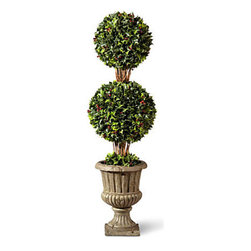 "Improvements - 36"" Holly Double Ball Topiary - Use a Holly Topiary to dress up your front step, porch, sun room, or any corner of your home. With an artificial topiary, you never have to water it or trim the branches. The Holly Topiaries features dark and light green holly leaves with red berries. Our delightful Holly Topiaries provide evergreen beauty you'll enjoy all year round. Enjoy the classic beauty of holly reproduced in elegant detail, right down to the bright red berries. This artificial Holly Topiaries look amazingly natural, even up close, and you never have to worry about watering or trimming! Just place the weighted plastic pot inside one of our stone-look urns (sold separately) or use your own decorative planter. The durable faux foliage is weather-resistant so you can enjoy the Holly Topiary for many years. The Holly Topiaries are available in 2 styles: Double Ball with faux brown trunk and trailing stems, and elegant Cone design. NOTE: Urn planter shown at left is sold separately. Benefits of the Holly Topiary:   Looking for a different style? Check our complete selection of Topiaries & Artificial Plants."