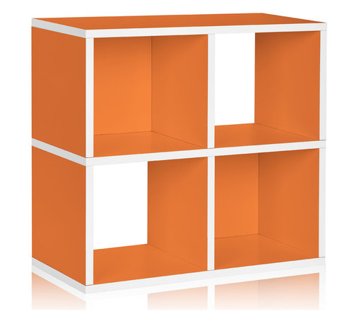Way Basics - Way Basics 4 Cubby Storage Shelf, Orange - The smartest storage — cubed! Super simple to assemble (no tools, no hardware; just peel and press) and designed as a single unit, it boasts two boxes with backs and two that are open to accommodate all manner of matter. Formaldehyde- and VOC-free, so it's safe for people, the planet, everything but clutter!