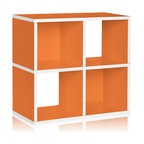 Way Basics - Way Basics Stackable Cubby Bookcase, Orange - The smartest storage — cubed! Super simple to assemble (no tools, no hardware; just peel and press) and designed as a single unit, it boasts two boxes with backs and two that are open to accommodate all manner of matter. Formaldehyde- and VOC-free, so it's safe for people, the planet, everything but clutter!