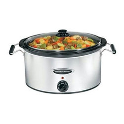 Hamilton Beach - Slow Cooker 7 Qt. - This Hamilton Beach Slow Cooker with stainless look base lets you travel and serve with no mess. Mess-free lid and Lid Latch strap seal lid onto base to reduce messy spills. Oval stoneware crock is the perfect size to cook an 8 lb. chicken or two 4 lb. roasts. Stoneware crock and glass lid are dishwasher safe for fast, easy cleanup. It features full-grip handles, recipe name holder and easy cord storage.