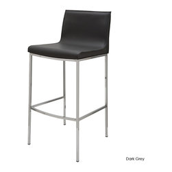Nuevo Living - Colter Bar Stool, Dark Grey, Set of 2 - High and mighty! There's nothing hoity-toity about this sleek bar stool, just a good solid design that's a step up from ordinary. From the smooth leather seat to the simple chrome steel base, this stool has that lofty, open look that will make your cozy bar space look much bigger.