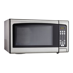"""Danby - 1.1 Cu.Ft. Microwave-Black - Spacious 1.1 cu. ft. capacity microwave, 1000 watts of cooking power, 10 power levels, Simple one touch cooking for 6 popular uses (popcorn, potato, pizza, beverage, dinner plate, frozen vegetable), Easy to read LED timer/clock, Automatic oven light & turntable, Unit dimensions 20 3/16"""" W x 15 9/16"""" D x 12"""" H"""