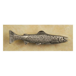 Anne At Home - Trout Right (Convex) Pull (Set of 10) - Hand cast and finished. Made in the USA. Pewter with brass insert. 4.75 in. L x 1.5 in. W x 1 in. H