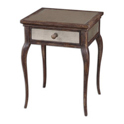 Uttermost - St. Owen Mirrored End Table - Sun Washed, Natural Wood In Time Worn Shades Of Wheat And Russet, With A French Dovetail Drawer And Antiqued Mirrors On Top, Sides And Back. Bulbs Included: No