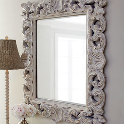 """Horchow - Crushed Shell Mirror - Shells and scrolls play around the frame of this mirror that is simultaneously neutral and dramatic. Made of polystyrene, glass, and wood. Can be hung vertically or horizontally; hanging hardware included. 37"""" W x 44""""T. Imported."""