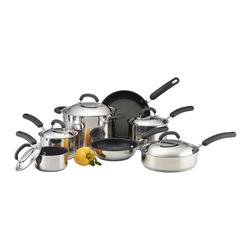 Circulon - Circulon Stainless Steel Hard Set (12 pieces) - This complete non-stick set from Circulon is everything you'll need in your kitchen to prepare delicious meals. The 12-piece set includes varying saucepans, skillets, lids, and a saute pan, all finished in a 3-layer non-stick coating.