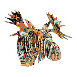 Cardboard Safari - Modern Art Print Fred Jr - Medium Moose Trophy in Drip, Pop, Grid, Medium, Drip - Fred Jr. wandered out of the wilderness, into the modern art museum, and emerged transformed. Three stunning art prints to choose from, these trophy heads bring vibrant modern art to your wall on an entirely unique canvas!