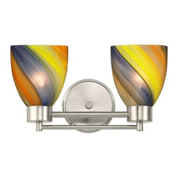 Design Classics Lighting - Modern Bathroom Light with Art Glass in Satin Nickel Finish - 702-09 GL1015MB - Contemporary / modern satin nickel 2-light bathroom light. Takes (2) 100-watt incandescent A19 bulb(s). Bulb(s) sold separately. UL listed. Damp location rated.