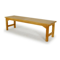 Westminster Teak Furniture - 5 ft Teak Backless Bench - One of our most popular backless teak benches since it combines traditional good looks and generous proportions with flexibility of use.  This teak bench can be placed in an entry or breeze way, mud room, locker room or between two planters on a patio, or as shown paired with a dining table since its great looks, extraordinary comfort and practicality allow numerous uses.