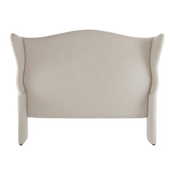 Kathy Kuo Home - Avery French Country Wing Back Head Board- Queen - Wingback details, gentle curves and plush greige linen upholstery give this headboard a dreamy, world-of-its-own feeling.  If you believe the bedroom should be a space apart or a sanctuary from the mundane, this is your headboard.