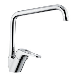 """Remer - Chrome Sink Faucet with Swivel Spout - Looking for a new contemporary style sink faucet? This mixer by Remer is perfect! It is a deck mount faucet with a high movable """"U"""" shape spout. This faucet is made from high-qualtiy brass and comes in a polished chrome finish. This single-lever, one-hole mixer is made in Italy. Deck-mount sink faucet. High, movable inch U inch shaped spout. Made from brass finished in chrome. Contemporary style faucet. Made in Italy by Remer."""