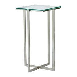 Adesso - Adesso Glacier Medium Pedestal, Satin Steel - Each piece has a .25 in tempered clear glass top with satin steel legs and frame. 14.25 in Square, 24.5 in Height. Glass: 12.5 in Square. Criss-crossed base: 10.5 in Width.