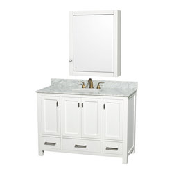 Wyndham Collection - Abingdon Single White with Medicine Cabinet Mirror and Undermount Porcelain Sink - Distinctive styling and elegant lines come together to form a complete range of modern classics in the Abingdon Bathroom Vanity collection. Inspired by well established American standards and crafted without compromise, these vanities are designed to complement any decor, from traditional to minimalist modern. Dimensions: 49 in.