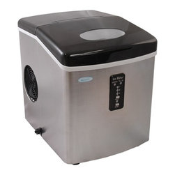 New Air - Portable Ice Maker - . Automatic shut off. 3 ice cube sizes. 6-15 minute ice production. Makes 28 lbs. of ice daily. Complementary stainless steel finish. Removable ice bin. Full basket indicator light. . 15 in. L x 15 in. W x 11 in. H (26.3 lbs)The NewAir AI-100SS portable ice maker makes up to 28 pounds of ice per day, which is sure to provide plenty of ice for your next barbeque or dinner party. Plus, with its compact size, you won't have to worry about it wasting valuable counter space in your kitchen!