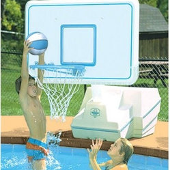 Dunn Rite Splash & Slam Port Regulation-Size Pool Basketball Hoop Set - Take the game from the streets to the pool with the Dunn Rite Splash & Slam Port Regulation-Size Pool Basketball Hoop Set. The backboard is made from indestructible reinforced polyethylene and the hinged breakaway system will protect players from injury in a rowdy game. Backboard is available in plastic or powder-coated stainless steel. All hardware is powder-coated aluminum or stainless steel and the rim is vinyl-coated steel. A regulation-size ball is included. Backboard measures 44W x 30H inches with 2-foot overhang. About Dunn Rite Pool ProductsFamily owned and operated since 1983 Dunn Rite Pool Products got its start in Elwood Indiana. They got their start manufacturing their own line of quality patio furniture and in 1988 their pool products division was created. Dunn Rite Pool Products is known for innovative products developed to be of the highest quality. They were the first to market a wall-mounted pool fountain the Wonderfall and the Splash & Slam the first commercial-grade basketball hoops product. Every purchase from Dunn Rite Pool Products means quality and value every time.