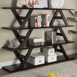 Coaster - Bookshelf, Cappuccino - This stylish versatile piece has the look of a stacked shelf in a cappuccino finish. This shelf can be used as a bookshelf in your office or a display cabinet in your living room.