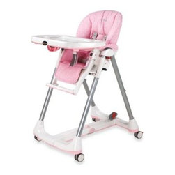 Peg Perego - Peg Perego Prima Pappa Diner High Chair in Savana Rosa - This fully assembled high chair is designed with large, mar-resistant castor wheels with brakes and larger tubing. Heavy padding and stitching keeps even an infant comfortably secure, and the 5-point harness keeps baby safe.