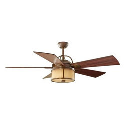 Monte Carlo Fans - Ceiling Fan - The Dakota ceiling fan has a transitional style influenced by a simple lantern silhouette which elegantly combines the Walnut/Russet finished blades with various options for the housing finish and glass in the integrated downlight. The Dakota fan is damp rated, so in addition to being used inside, it can also be used in outdoor areas which are not exposed to rain like a covered patio, sunroom or screen porch. Airflow is 5,612 CFM (cubic feet of air per minute). The fan?s blade sweep is 52?. A two-in-one remote control (combo hand-held and wall mount) is included.