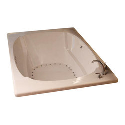 Spa World Corp - Atlantis Tubs 4872CAL Charleston 48x72x23 Inch Rectangular Air Jetted Bath - The Charleston series features a classic oval-shaped bathtub design, combined with recent luxury and safety industry trends. Body-wrapping armrests create an ultimate comfort zone, essential for a luxurious bathing experience.  An airpool bathtub creates thousands of warm bubbles that stimulate the skin's light touch receptors, producting an overall calming effect.  An air blower works like a giant hair dryer, taking the room temperature air, increasing it by approximately 30-degrees and blowing it through the bath.  Air baths differ from a whirlpool in that the massage is much softer.  Drop-In tubs have a finished rim designed to drop into a deck or custom surround.  They can be installed in a variety of ways like corners, peninsulas, islands, recesses or sunk into the floor.  A drop in bath is supported from below and has a self rimming edge that is designed to sit over a frame topped with a tile or other water resistant material.  The trim for the air or water jets is featured in white to color match the tub.